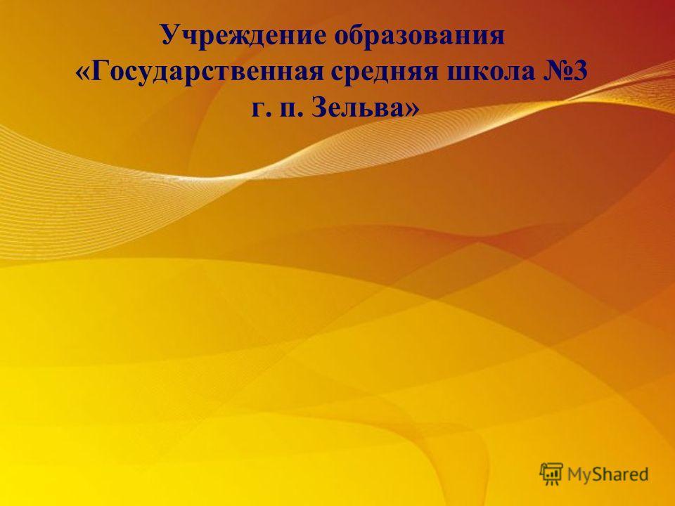 Учреждение образования «Государственная средняя школа 3 г. п. Зельва»