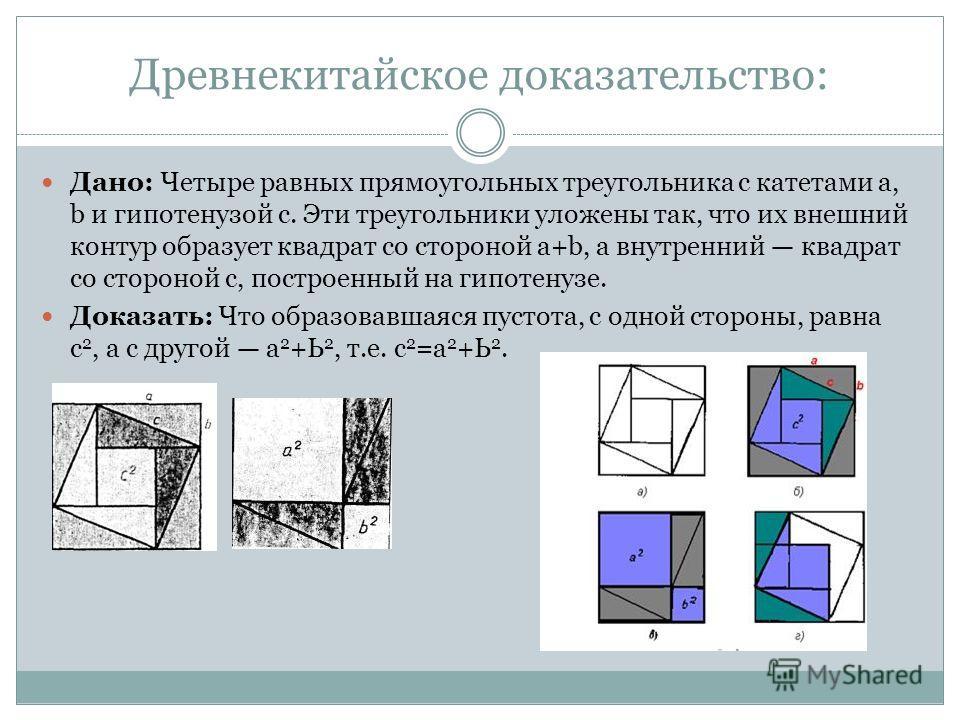 Древнекитайское доказательство: Дано: Четыре равных прямоугольных треугольника с катетами а, b и гипотенузой с. Эти треугольники уложены так, что их внешний контур образует квадрат со стороной а+b, а внутренний квадрат со стороной с, построенный на г