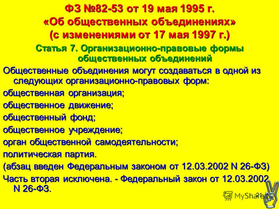 21 ФЗ 82-53 от 19 мая 1995 г. «Об общественных объединениях» (с изменениями от 17 мая 1997 г.) Статья 7. Организационно-правовые формы общественных объединений Общественные объединения могут создаваться в одной из следующих организационно-правовых фо