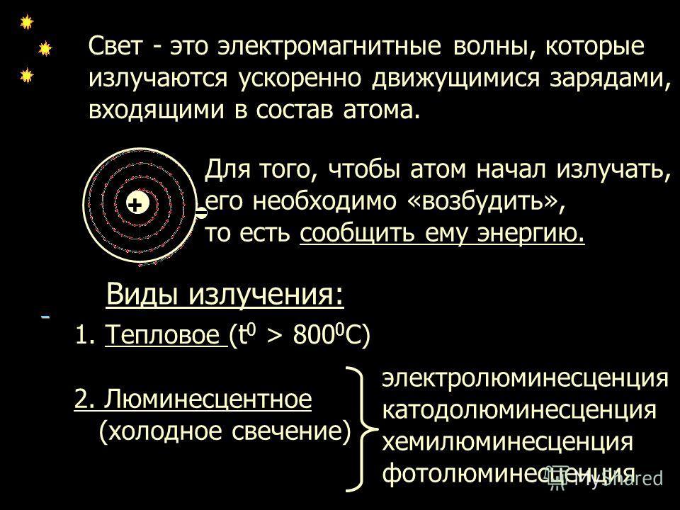 + Свет - это электромагнитные волны, которые излучаются ускоренно движущимися зарядами, входящими в состав атома. Для того, чтобы атом начал излучать, его необходимо «возбудить», то есть сообщить ему энергию. Виды излучения: 1. Тепловое (t 0 > 800 0