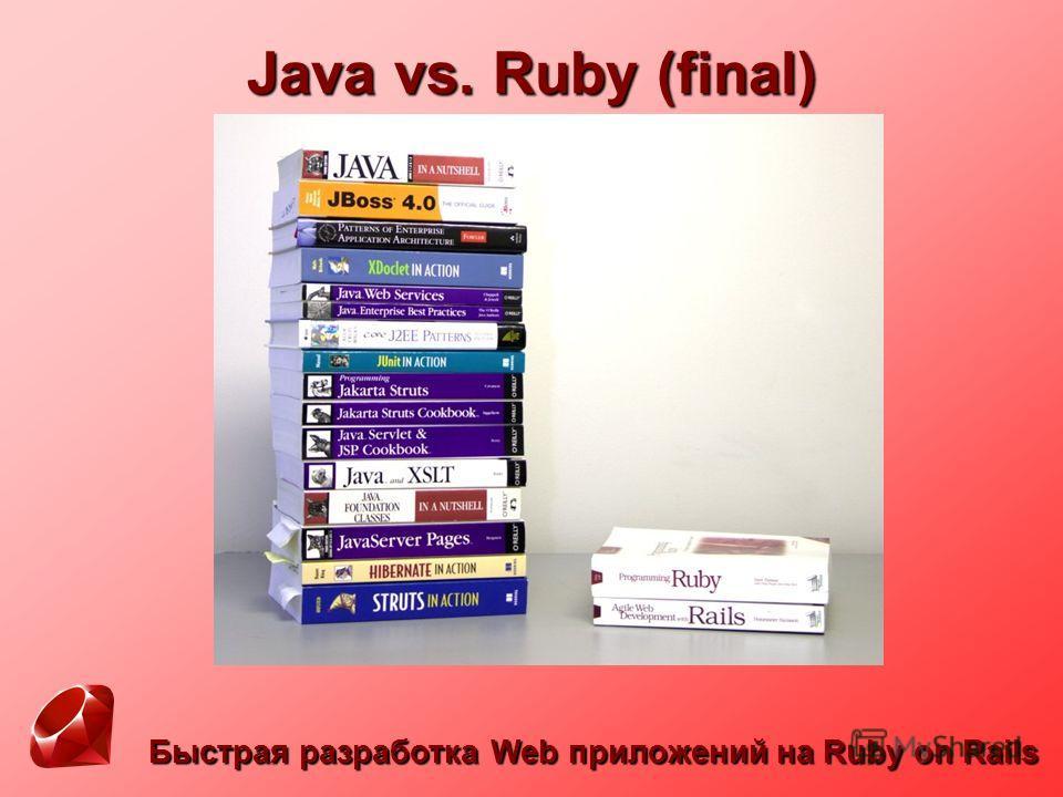 Быстрая разработка Web приложений на Ruby on Rails Java vs. Ruby (final)