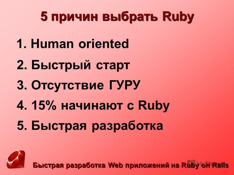 Быстрая разработка Web приложений на Ruby on Rails 5 причин выбрать Ruby 1. Human oriented 2. Быстрый старт 3. Отсутствие ГУРУ 4. 15% начинают с Ruby 5. Быстрая разработка