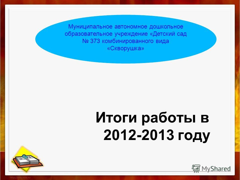 Итоги работы в 2012-2013 году Муниципальное автономное дошкольное образовательное учреждение «Детский сад 373 комбинированного вида «Скворушка»