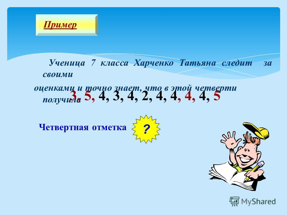 Ученица 7 класса Харченко Татьяна следит за своими оценками и точно знает, что в этой четверти получила 3, 5, 4, 3, 4, 2, 4, 4, 4, 4, 5 Четвертная отметка ? 4 Пример