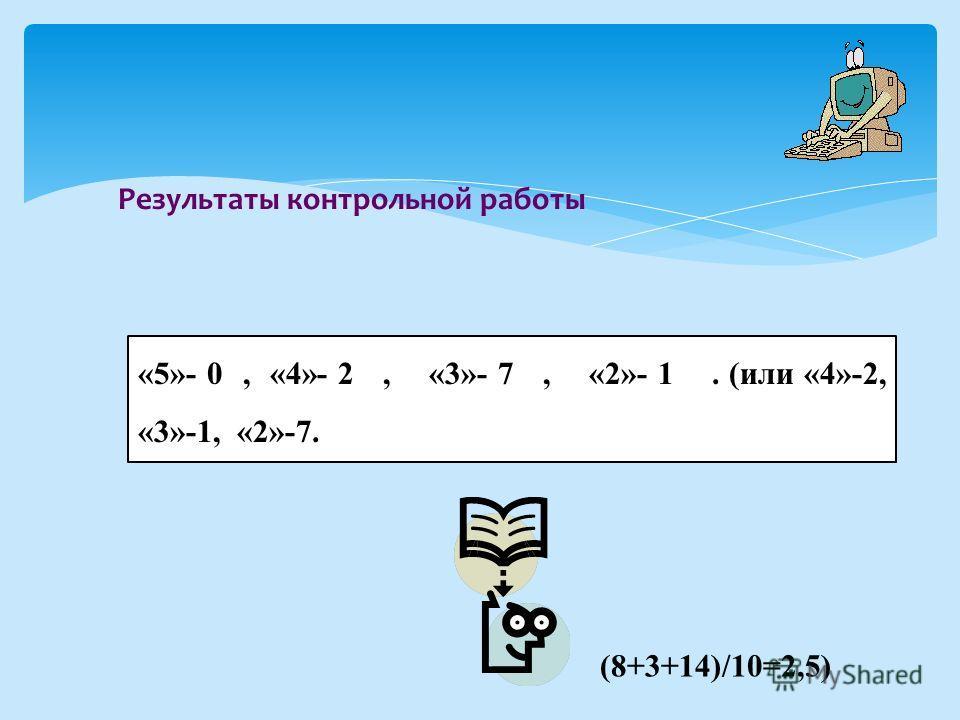 Результаты контрольной работы «5»- 0, «4»- 2, «3»- 7, «2»- 1. (или «4»-2, «3»-1, «2»-7. (8+3+14)/10=2,5)