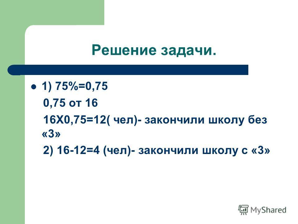 Решение задачи. 1) 75%=0,75 0,75 от 16 16Х0,75=12( чел)- закончили школу без «3» 2) 16-12=4 (чел)- закончили школу с «3»