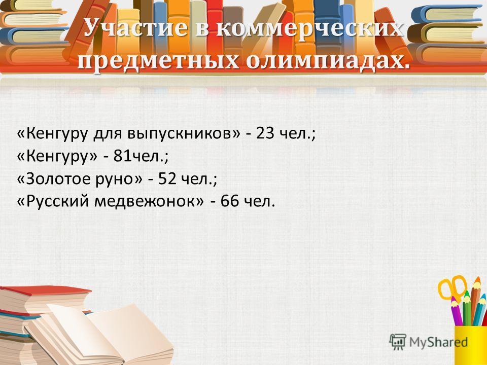 Участие в коммерческих предметных олимпиадах. «Кенгуру для выпускников» - 23 чел.; «Кенгуру» - 81чел.; «Золотое руно» - 52 чел.; «Русский медвежонок» - 66 чел.