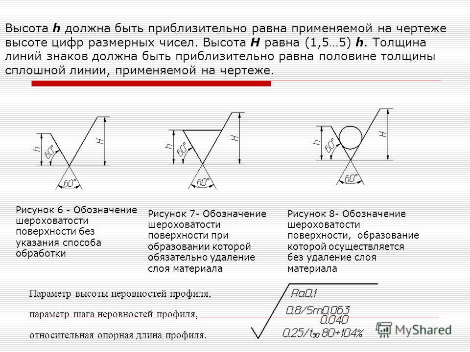 Рисунок 6 - Обозначение шероховатости поверхности без указания способа обработки Рисунок 7- Обозначение шероховатости поверхности при образовании которой обязательно удаление слоя материала Рисунок 8- Обозначение шероховатости поверхности, образовани