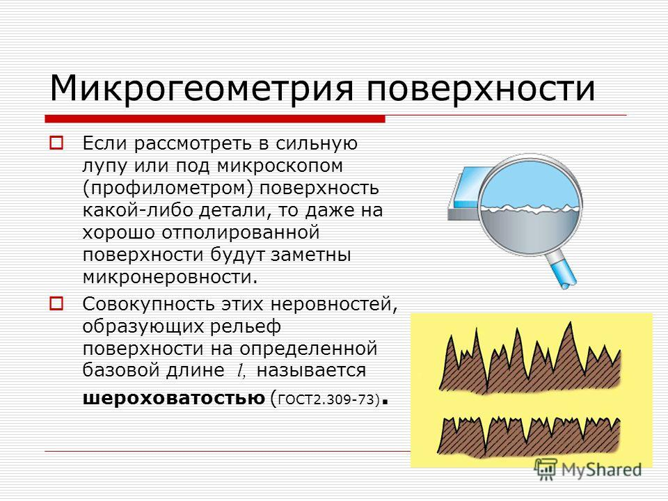 Микрогеометрия поверхности Если рассмотреть в сильную лупу или под микроскопом (профилометром) поверхность какой-либо детали, то даже на хорошо отполированной поверхности будут заметны микронеровности. Совокупность этих неровностей, образующих рельеф