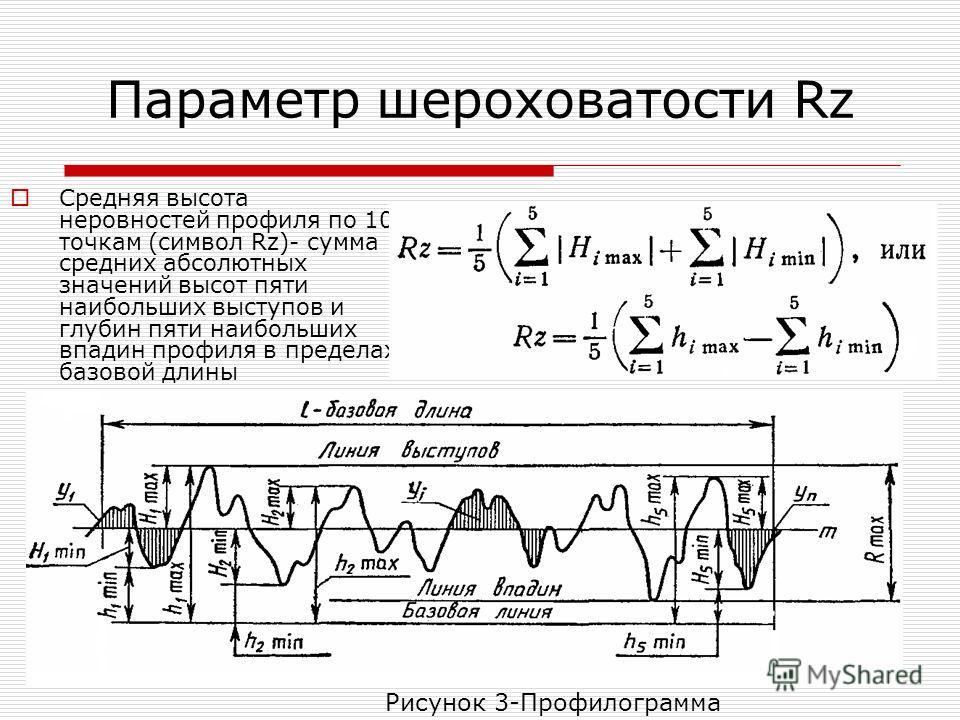 Параметр шероховатости Rz Средняя высота неровностей профиля по 10 точкам (символ Rz)- сумма средних абсолютных значений высот пяти наибольших выступов и глубин пяти наибольших впадин профиля в пределах базовой длины Рисунок 3-Профилограмма