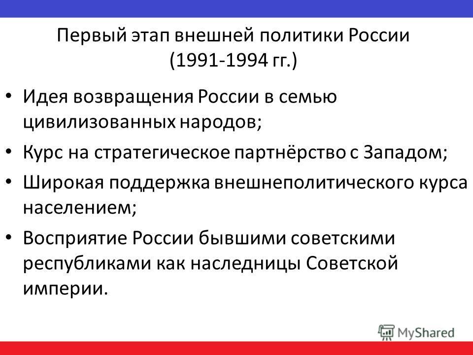 Первый этап внешней политики России (1991-1994 гг.) Идея возвращения России в семью цивилизованных народов; Курс на стратегическое партнёрство с Западом; Широкая поддержка внешнеполитического курса населением; Восприятие России бывшими советскими рес