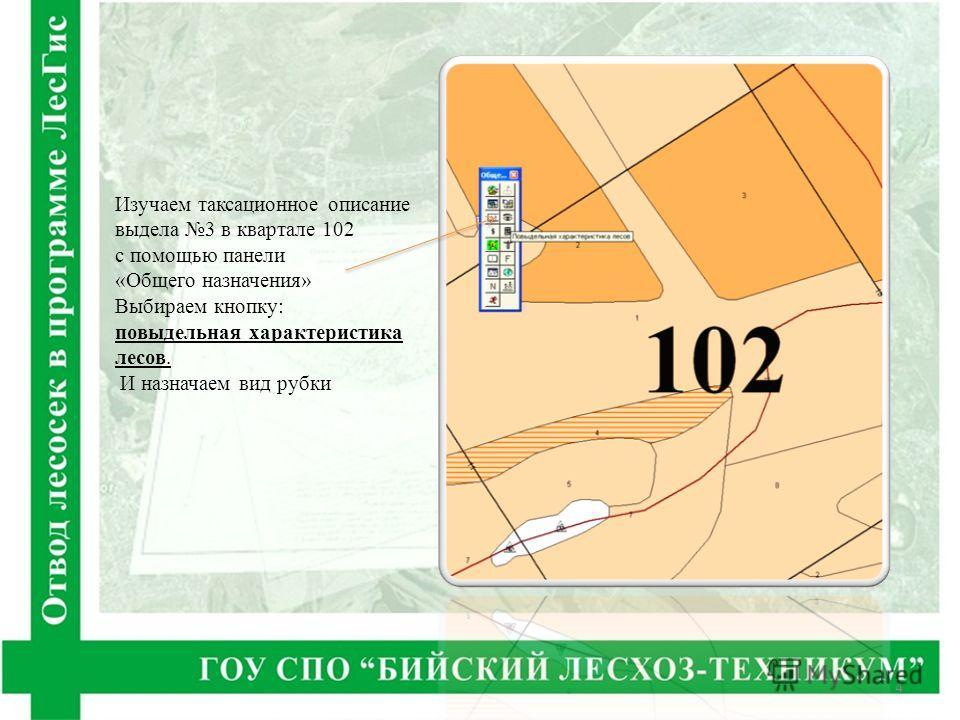 Изучаем таксационное описание выдела 3 в квартале 102 с помощью панели «Общего назначения» Выбираем кнопку: повыдельная характеристика лесов. И назначаем вид рубки 4