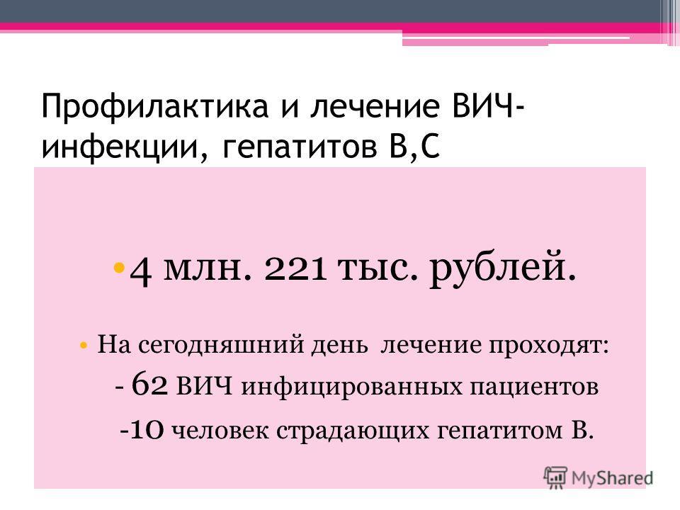 Профилактика и лечение ВИЧ- инфекции, гепатитов В,С 4 млн. 221 тыс. рублей. На сегодняшний день лечение проходят: - 62 ВИЧ инфицированных пациентов - 10 человек страдающих гепатитом В.
