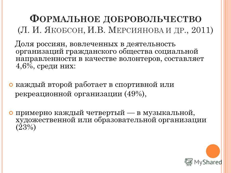 Ф ОРМАЛЬНОЕ ДОБРОВОЛЬЧЕСТВО (Л. И. Я КОБСОН, И.В. М ЕРСИЯНОВА И ДР., 2011) Доля россиян, вовлеченных в деятельность организаций гражданского общества социальной направленности в качестве волонтеров, составляет 4,6%, среди них: каждый второй работает