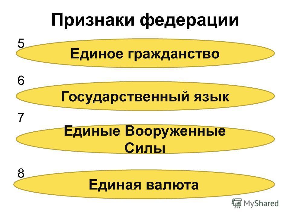Признаки федерации 56785678 Единое гражданство Государственный язык Единые Вооруженные Силы Единая валюта