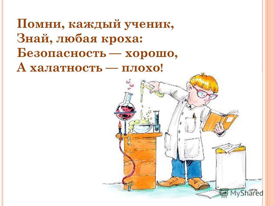 Помни, каждый ученик, Знай, любая кроха: Безопасность хорошо, А халатность плохо !
