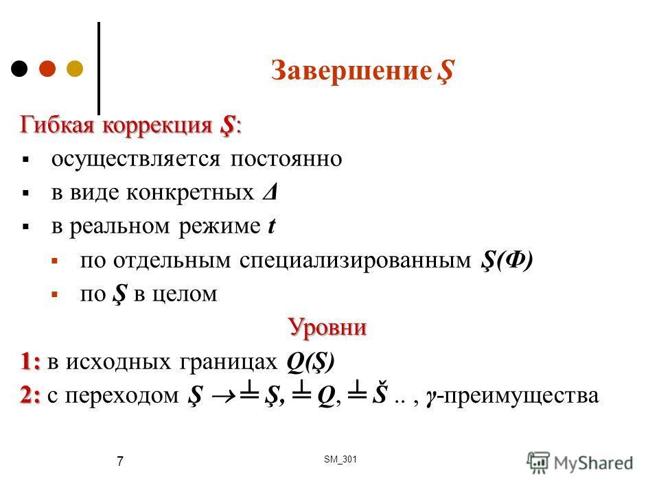 Завершение Ş Гибкая коррекция Ş: осуществляется постоянно в виде конкретных Δ в реальном режиме t по отдельным специализированным Ş(Ф) по Ş в целомУровни 1: 1: в исходных границах Q(Ş) 2: 2: с переходом Ş Ş, Q, Š.., γ-преимущества SM_301 7