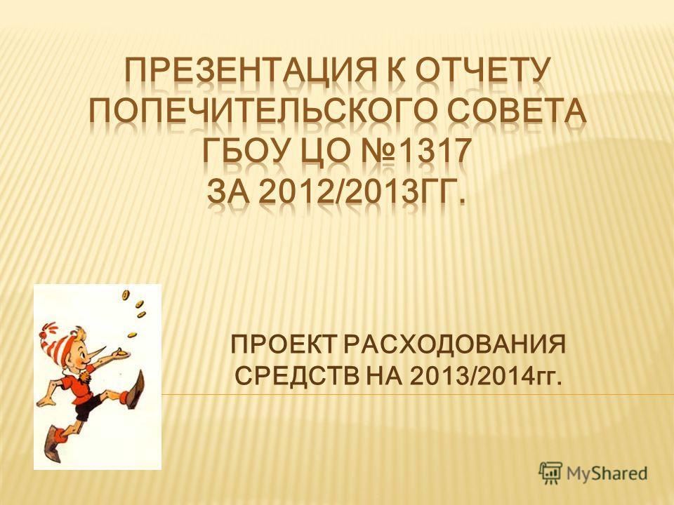 ПРОЕКТ РАСХОДОВАНИЯ СРЕДСТВ НА 2013/2014гг.