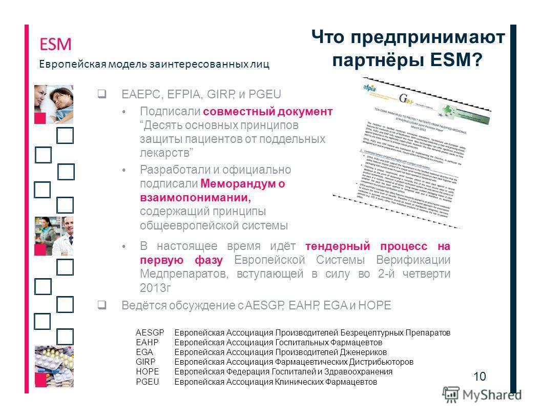 Что предпринимают партнёры ЕSМ? 1010 EAEPC, EFPIA, GIRP, и PGEU Подписали совместный документДесять основных принципов защиты пациентов от поддельных лекарств Разработали и официально подписали Меморандум о взаимопонимании, содержащий принципы общеев