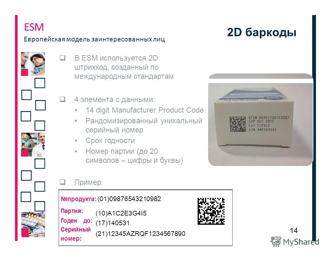 2D баркоды В ЕSM используется 2D штрихкод, созданный по международным стандартам 4 элемента с данными: 14 digit Manufacturer Product Code Рандомизированный уникальный серийный номер Срок годности Номер партии (до 20 символов – цифры и буквы) Пример: