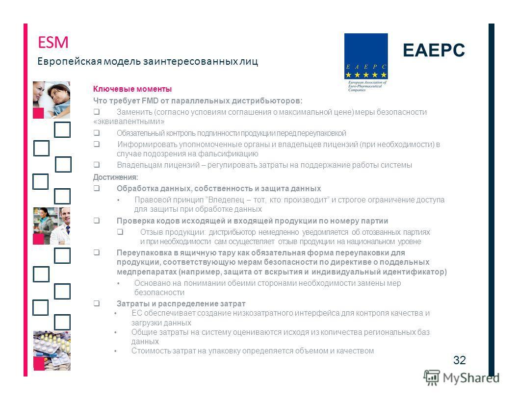 EAEPC Ключевые моменты Что требует FMD от параллельных дистрибьюторов: Заменить (согласно условиям соглашения о максимальной цене) меры безопасности «эквивалентными» Обязательный контроль подлинности продукции перед переупаковкой Информировать уполно