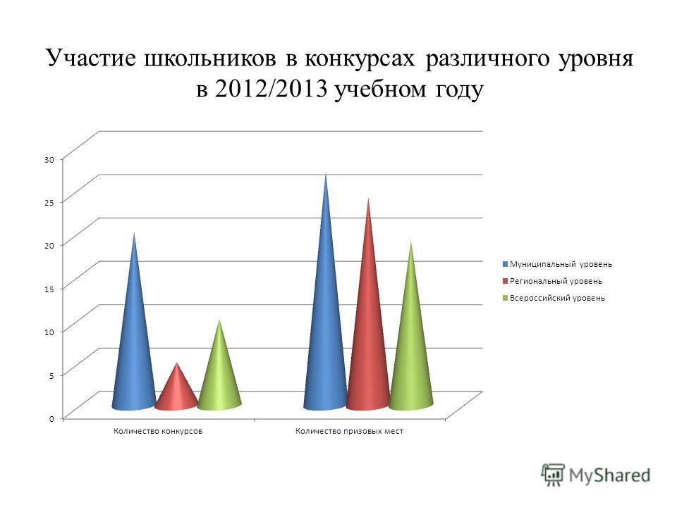 Участие школьников в конкурсах различного уровня в 2012/2013 учебном году