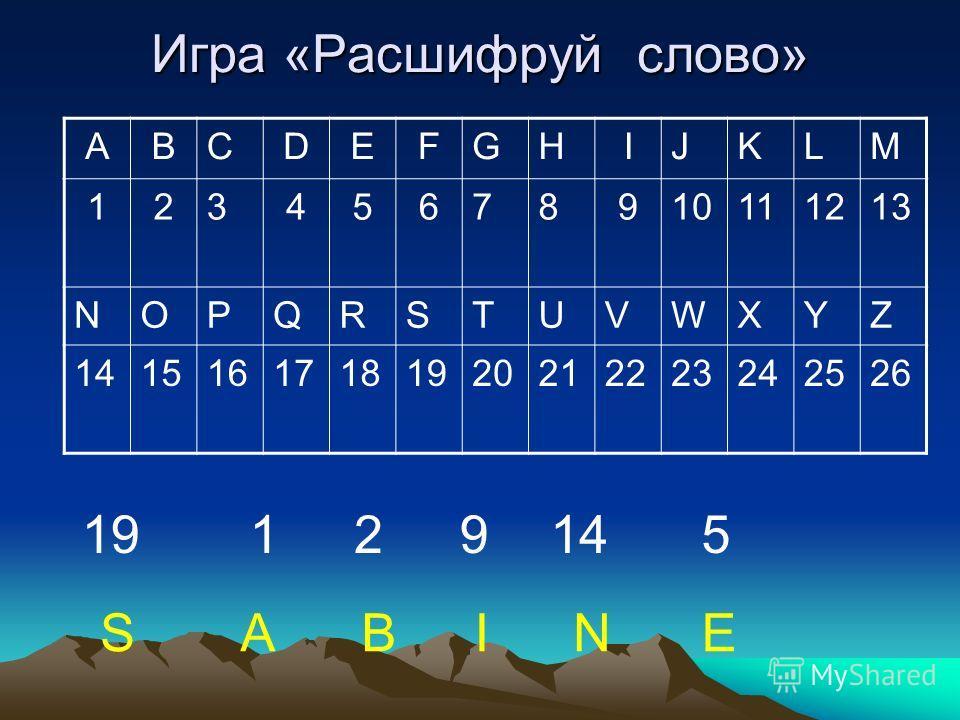 Игра «Расшифруй слово» ABCDEFGHIJKLM 12345678910111213 NOPQRSTUVWXYZ 14151617181920212223242526 19 12 9 14 5 SABINE