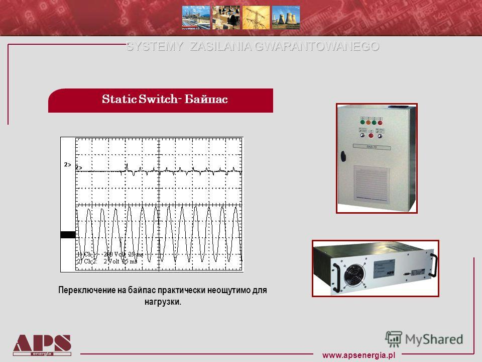www.apsenergia.pl Static Switch- Байпас Переключение на байпас практически неощутимо для нагрузки.