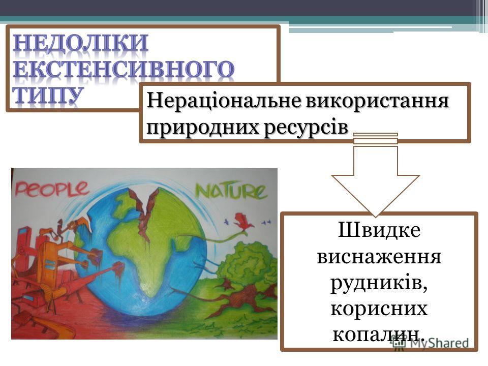 Нераціональне використання природних ресурсів Швидке виснаження рудників, корисних копалин.