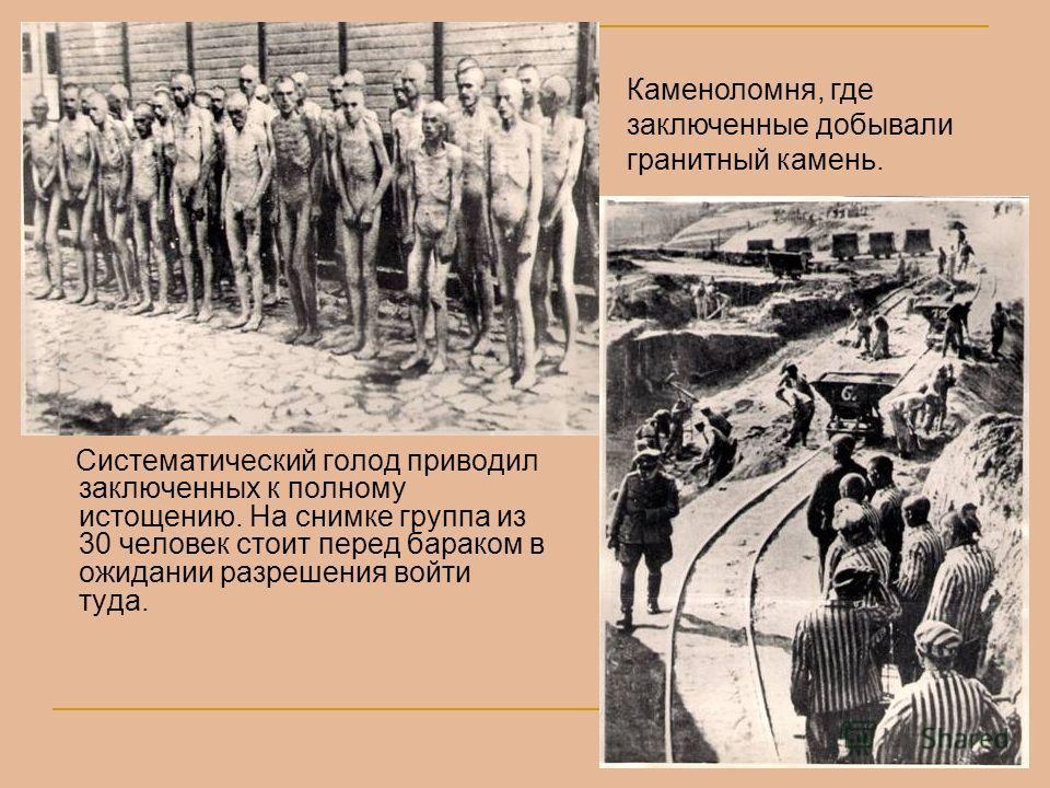 Систематический голод приводил заключенных к полному истощению. На снимке группа из 30 человек стоит перед бараком в ожидании разрешения войти туда. Каменоломня, где заключенные добывали гранитный камень.