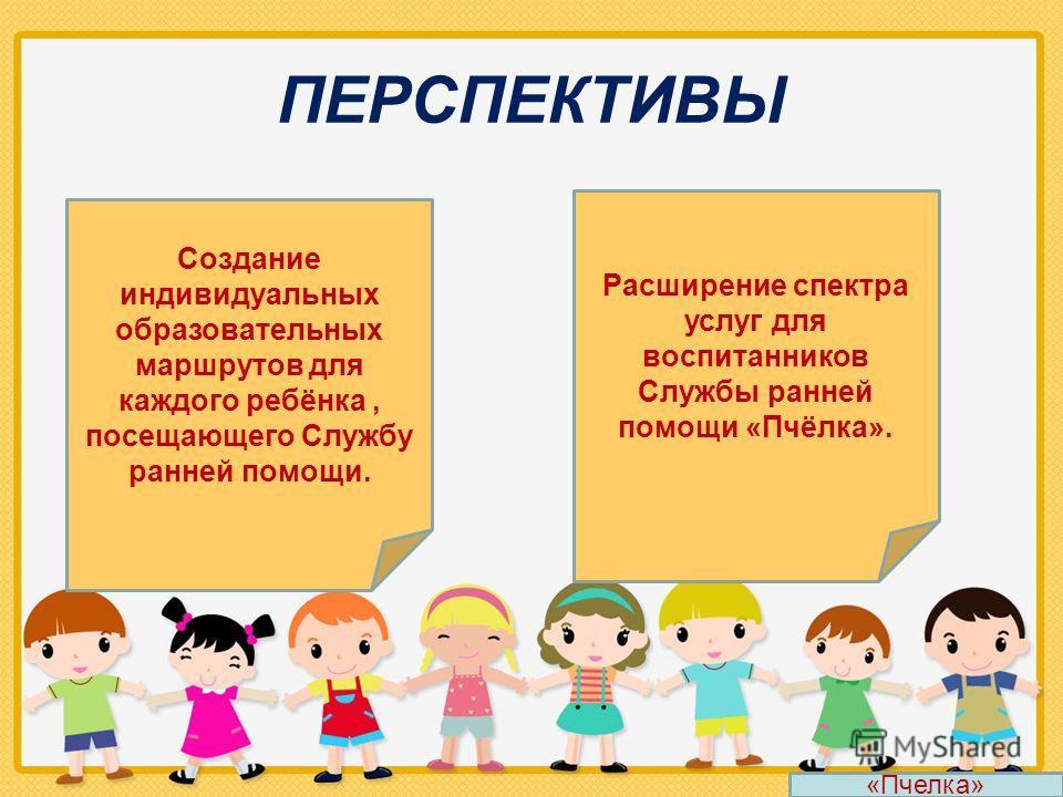 ПЕРСПЕКТИВЫ Создание индивидуальных образовательных маршрутов для каждого ребёнка, посещающего Службу ранней помощи. Расширение спектра услуг для воспитанников Службы ранней помощи «Пчёлка». «Пчелка»