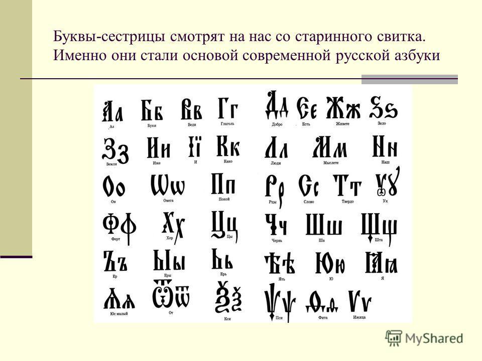 Буквы-сестрицы смотрят на нас со старинного свитка. Именно они стали основой современной русской азбуки