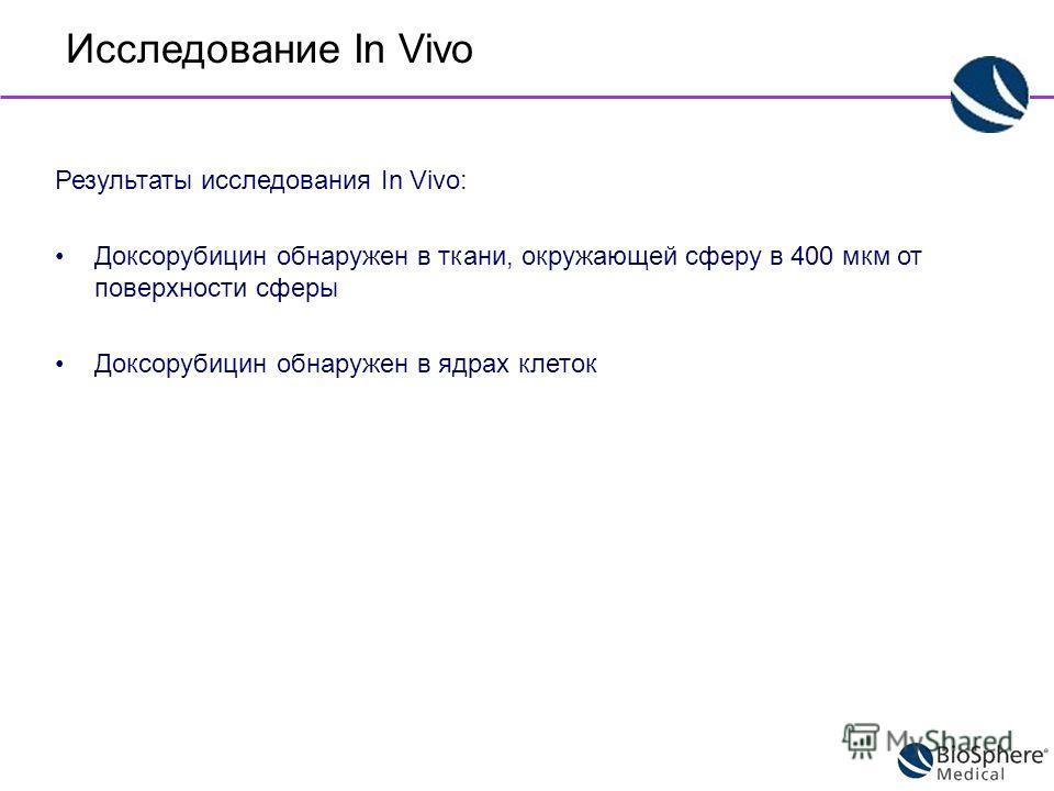 Результаты исследования In Vivo: Доксорубицин обнаружен в ткани, окружающей сферу в 400 мкм от поверхности сферы Доксорубицин обнаружен в ядрах клеток Исследование In Vivo