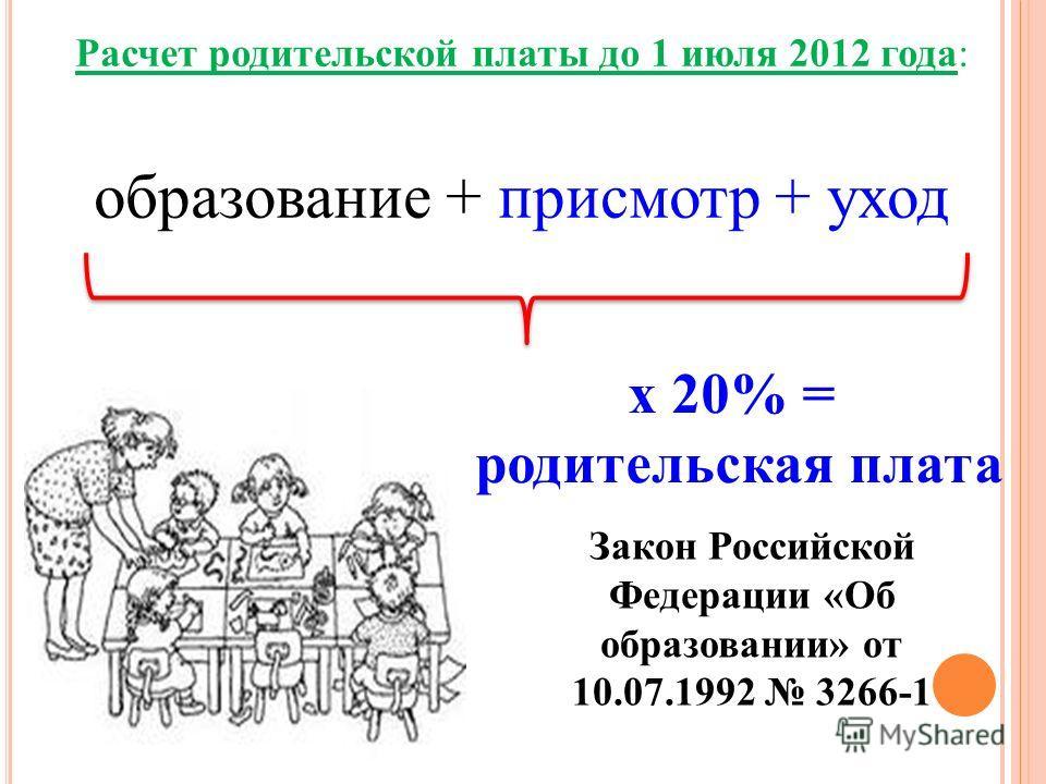 Расчет родительской платы до 1 июля 2012 года: образование + присмотр + уход х 20% = родительская плата Закон Российской Федерации «Об образовании» от 10.07.1992 3266-1