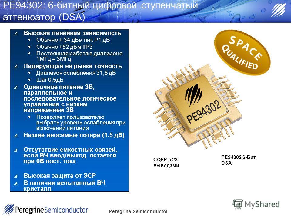 Peregrine Semiconductor Confidential PE94302: 6-битный цифровой ступенчатый аттенюатор (DSA) Высокая линейная зависимость Обычно + 34 дБм пик Р1 дБ Обычно +52 дБм IIP3 Постоянная работа в диапазоне 1МГц – 3МГц Лидирующая на рынке точность Диапазон ос
