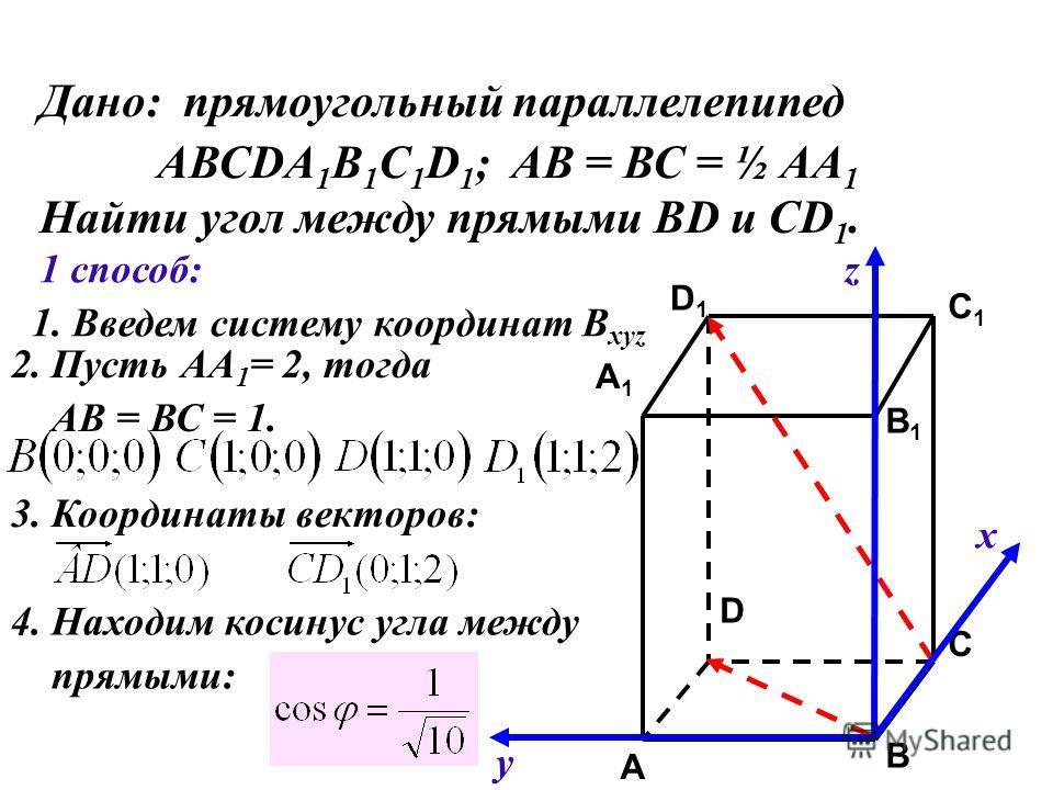 Дано: прямоугольный параллелепипед АВСDA 1 B 1 C 1 D 1 ; АВ = ВС = ½ АА 1 Найти угол между прямыми ВD и CD 1. C C1C1 A1A1 B1B1 D1D1 A B D 1 способ: 1. Введем систему координат B xyz х у z 2. Пусть АА 1 = 2, тогда АВ = ВС = 1. 3. Координаты векторов: