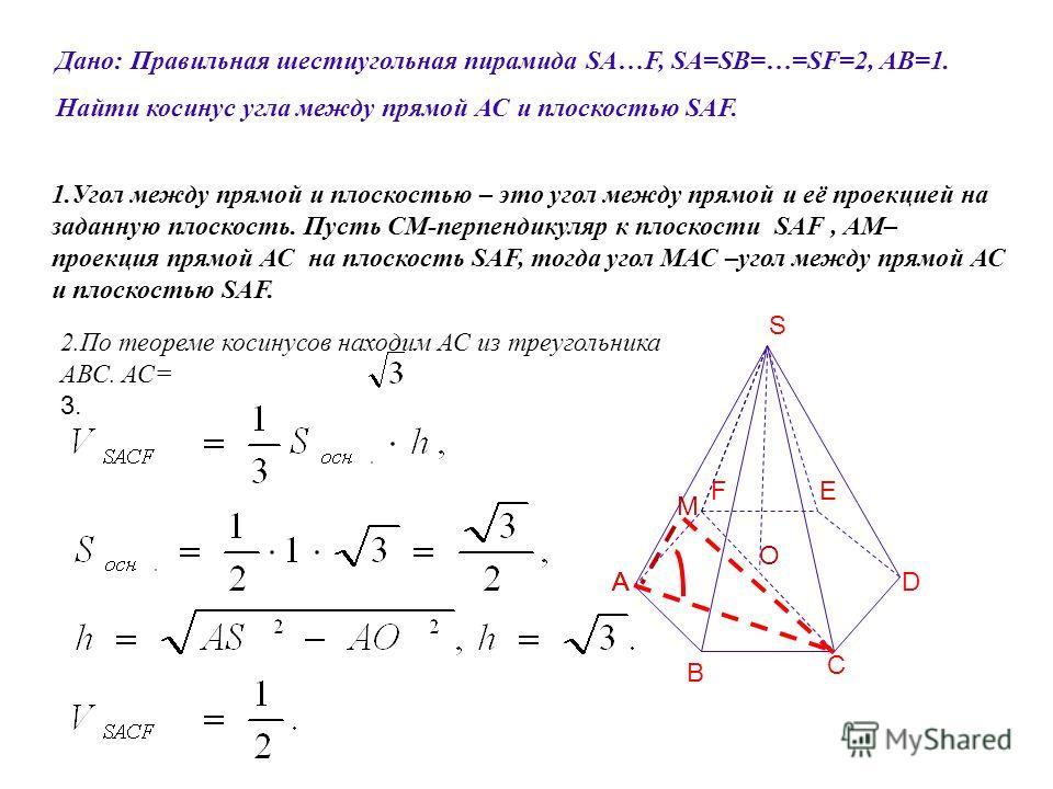 Дано: Правильная шестиугольная пирамида SA…F, SA=SB=…=SF=2, АВ=1. Найти косинус угла между прямой АС и плоскостью SAF. S A B C F AD E 1.Угол между прямой и плоскостью – это угол между прямой и её проекцией на заданную плоскость. Пусть СМ-перпендикуля