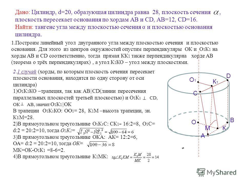 Дано: Цилиндр, d=20, образующая цилиндра равна 28, плоскость сечения, плоскость пересекает основания по хордам АВ и СD, АВ=12, СD=16. Найти: тангенс угла между плоскостью сечения α и плоскостью основания цилиндра. 2.1 случай (хорды, по которым плоско