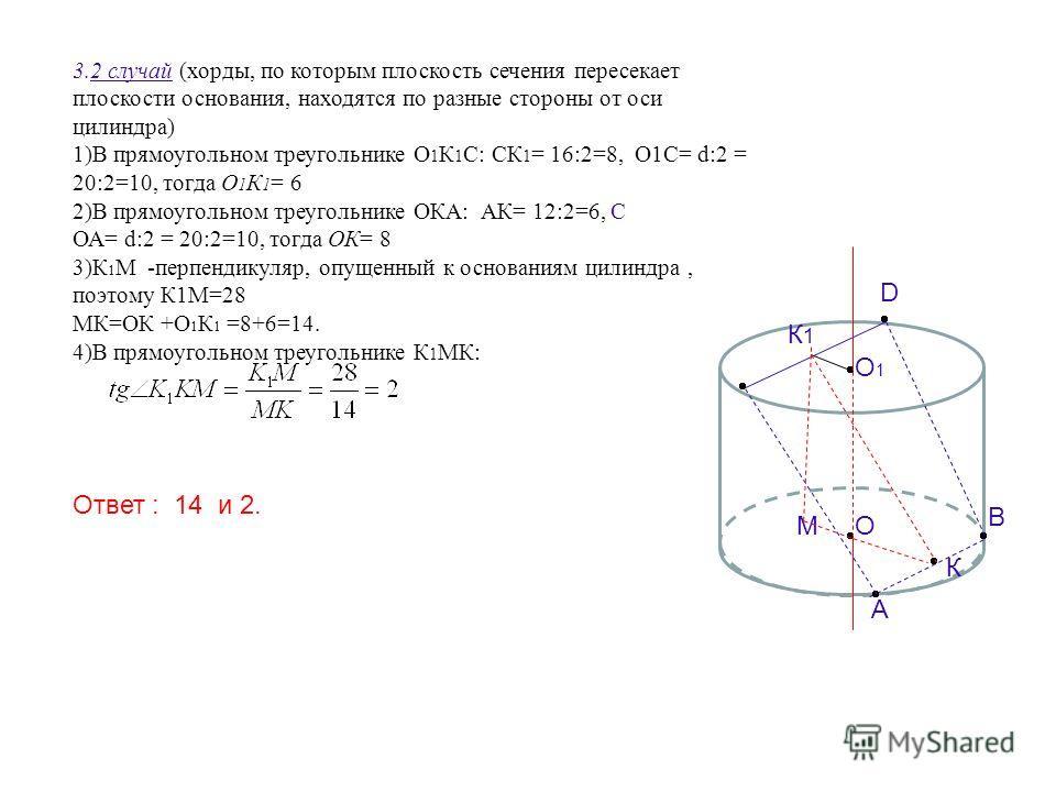 3.2 случай (хорды, по которым плоскость сечения пересекает плоскости основания, находятся по разные стороны от оси цилиндра) 1)В прямоугольном треугольнике О 1 К 1 С: СК 1 = 16:2=8, О1С= d:2 = 20:2=10, тогда О 1 К 1 = 6 2)В прямоугольном треугольнике