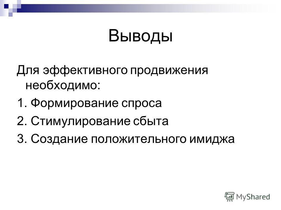 Для эффективного продвижения необходимо: 1. Формирование спроса 2. Стимулирование сбыта 3. Создание положительного имиджа Выводы