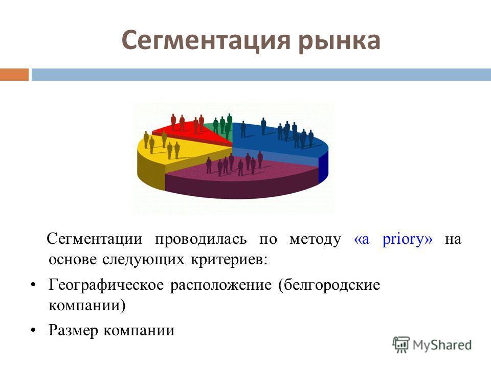 Сегментация рынка Сегментации проводилась по методу «a priory» на основе следующих критериев: Географическое расположение (белгородские компании) Размер компании