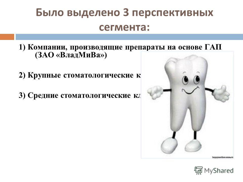 Было выделено 3 перспективных сегмента: 1) Компании, производящие препараты на основе ГАП (ЗАО «ВладМиВа») 2) Крупные стоматологические клиники (4 клиники) 3) Средние стоматологические клиники (43 клиники)