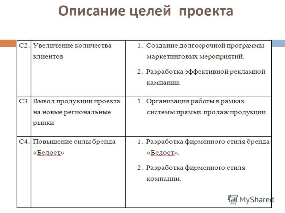 Описание целей проекта