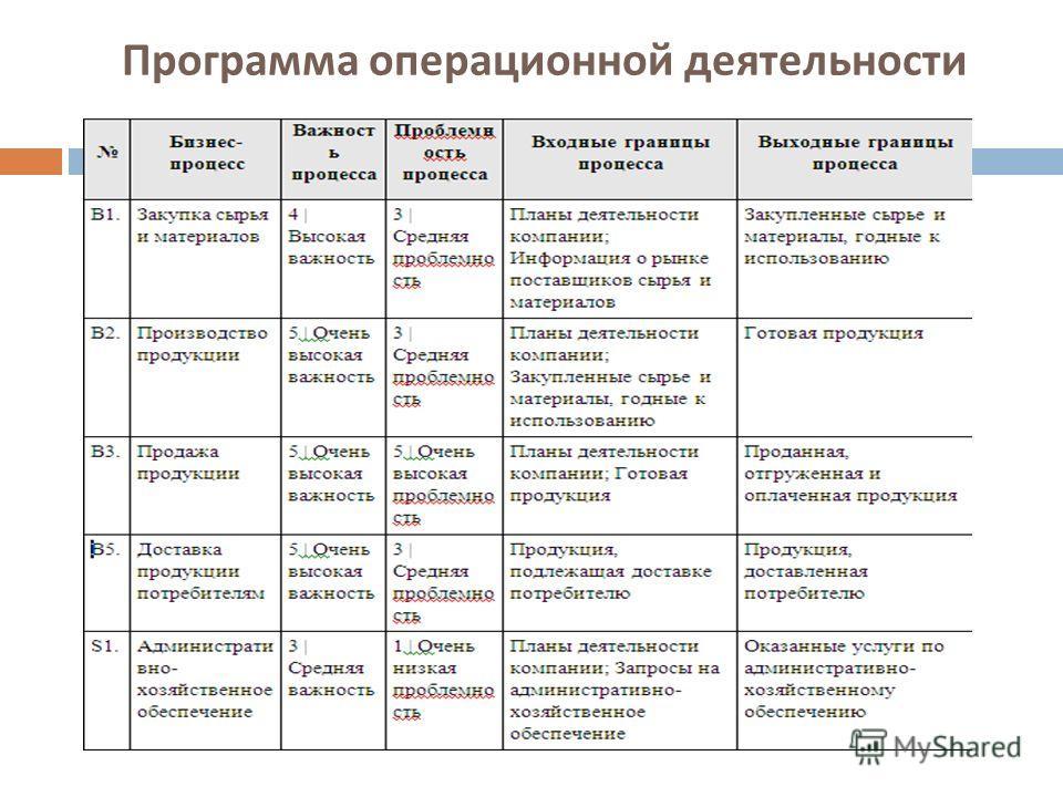 Программа операционной деятельности