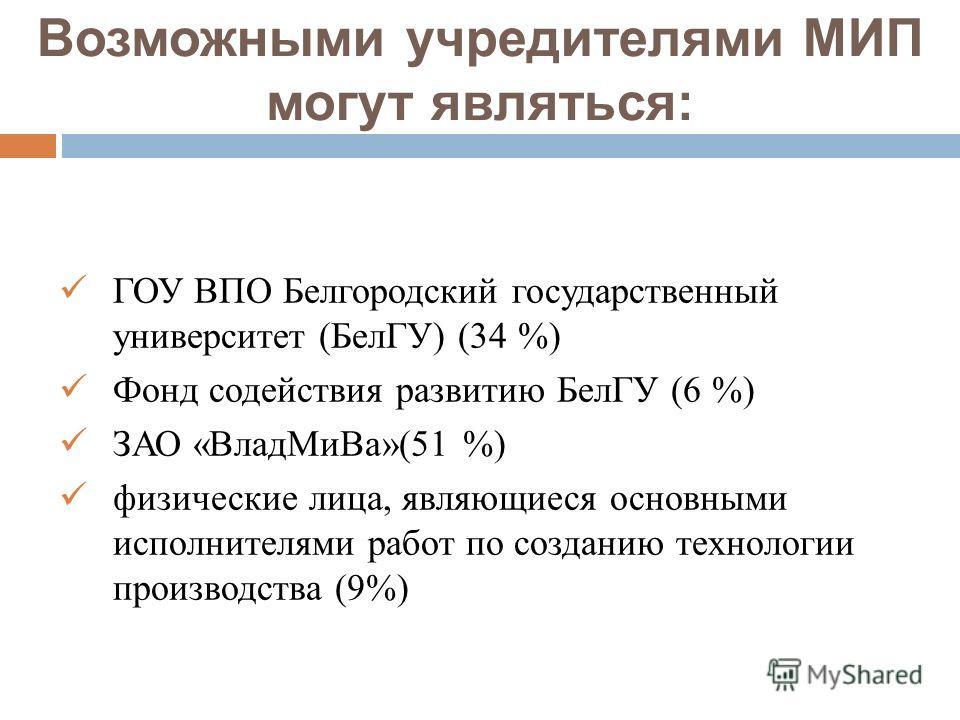 Возможными учредителями МИП могут являться: ГОУ ВПО Белгородский государственный университет (БелГУ) (34 %) Фонд содействия развитию БелГУ (6 %) ЗАО «ВладМиВа»(51 %) физические лица, являющиеся основными исполнителями работ по созданию технологии про