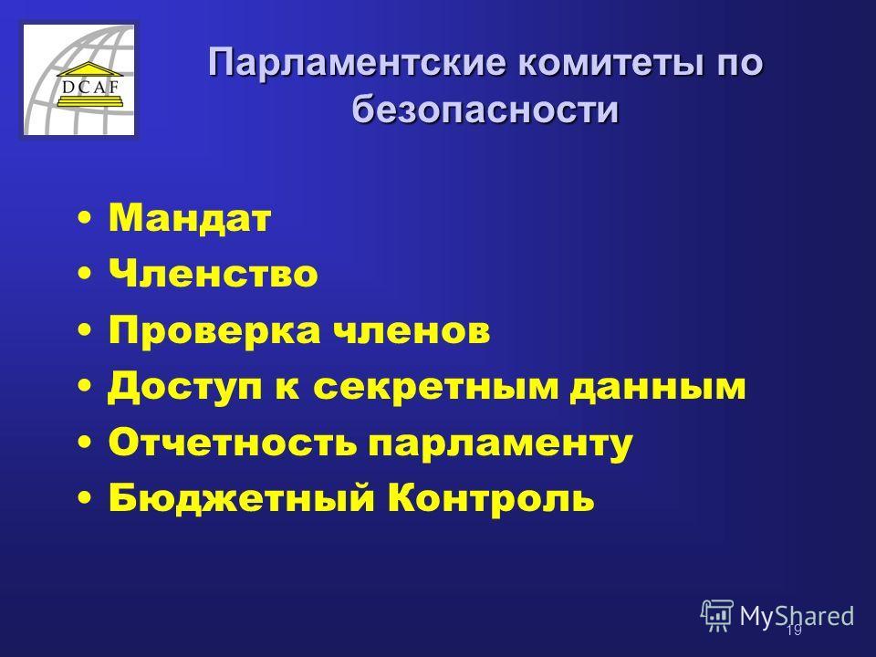 19 Парламентские комитеты по безопасности Мандат Членство Проверка членов Доступ к секретным данным Отчетность парламенту Бюджетный Контроль