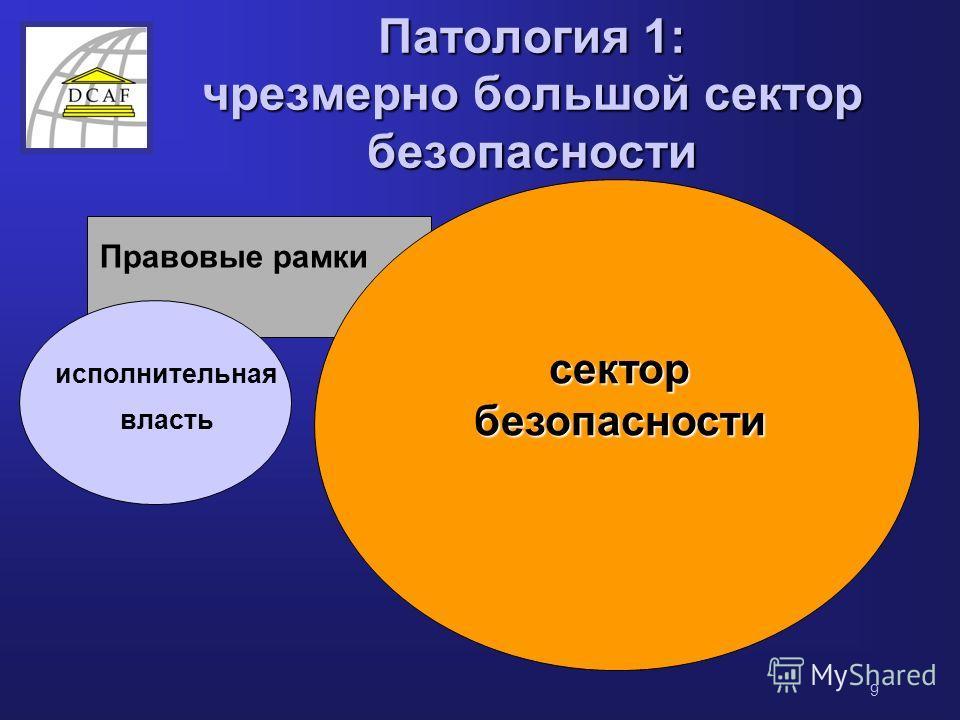 9 Патология 1: чрезмерно большой сектор безопасности Правовые рамки сектор безопасности исполнительная власть
