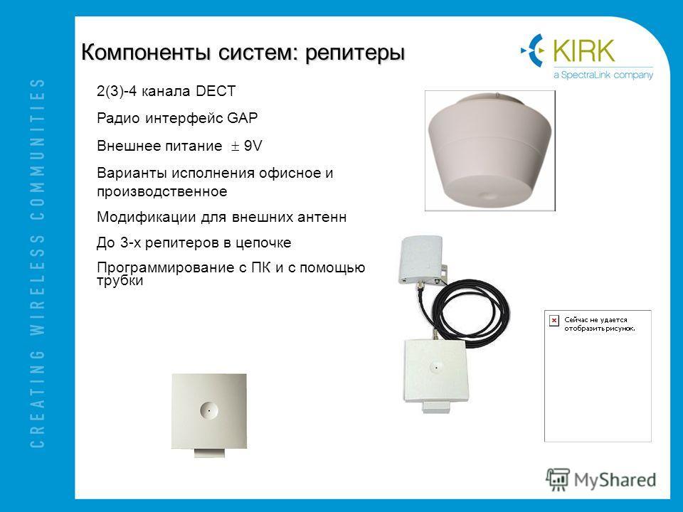 Компоненты систем: репитеры 2(3)-4 канала DECT Радио интерфейс GAP Внешнее питание 9V Варианты исполнения офисное и производственное Модификации для внешних антенн До 3-х репитеров в цепочке Программирование с ПК и с помощью трубки