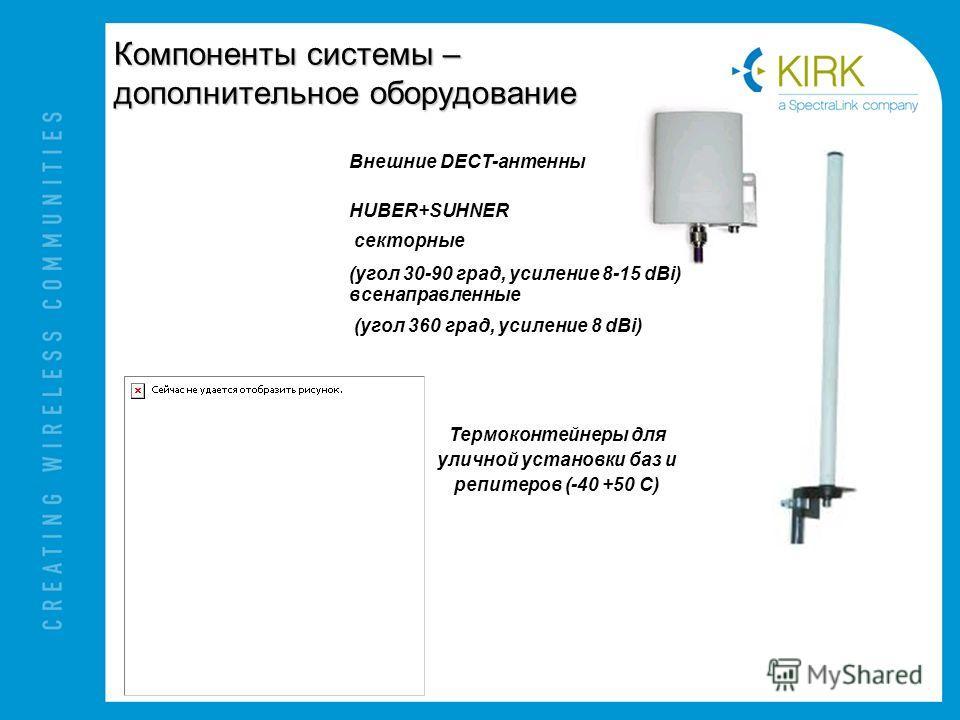 Компоненты системы – дополнительное оборудование Внешние DECT-антенны HUBER+SUHNER секторные (угол 30-90 град, усиление 8-15 dBi) всенаправленные (угол 360 град, усиление 8 dBi) Термоконтейнеры для уличной установки баз и репитеров (-40 +50 C)