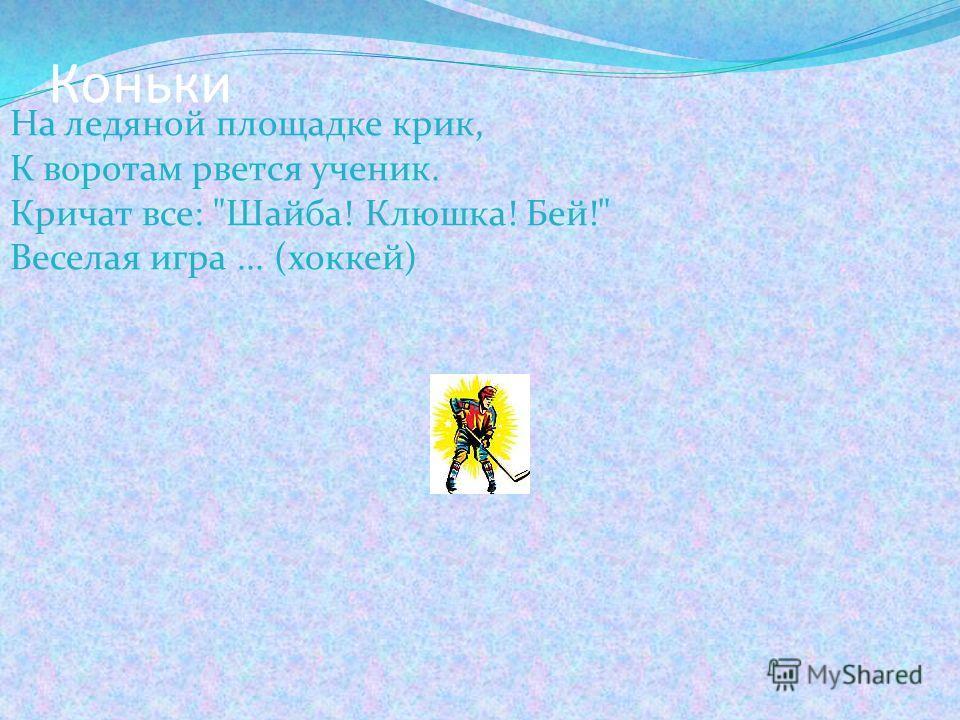 Коньки На ледяной площадке крик, К воротам рвется ученик. Кричат все: Шайба! Клюшка! Бей! Веселая игра... (хоккей)